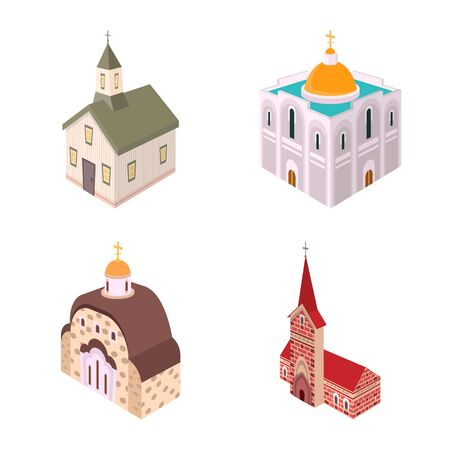 Vector design of architecture and building icon. Collection of architecture and clergy vector icon for stock. Иллюстрация
