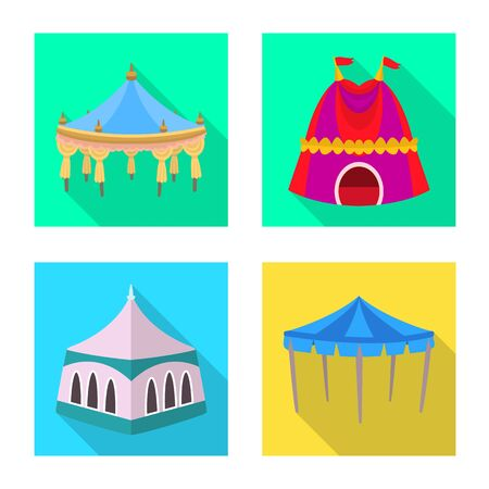 Vector design of awning and shelter  . Set of awning and canopy stock vector illustration. Ilustração