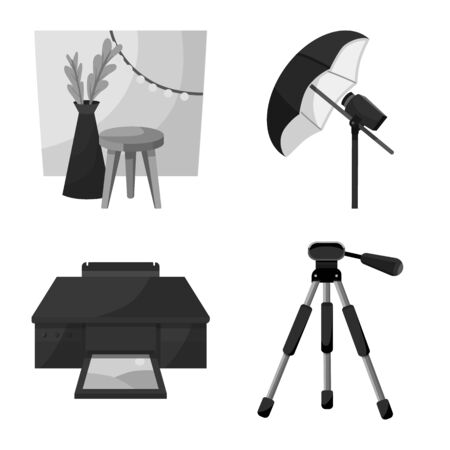 Vector illustration of professional and accessories  . Set of professional and work stock vector illustration.