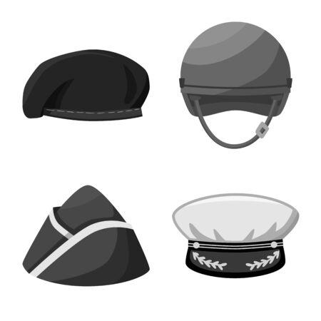 Vector illustration of headgear and modern sign. Set of headgear and clothing stock vector illustration. Иллюстрация