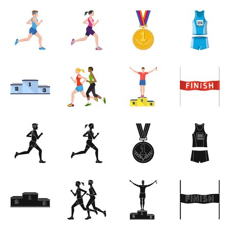 Vector illustration of sport and winner . Collection of sport and fitness stock symbol for web.