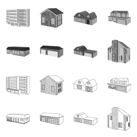 Vector illustration of facade and housing icon. Collection of facade and infrastructure stock vector illustration.