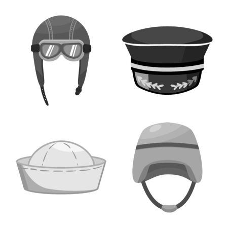 Vector design of headgear and modern icon. Set of headgear and clothing vector icon for stock. Иллюстрация
