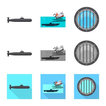 Vector illustration of war and ship . Collection of war and fleet vector icon for stock. Иллюстрация