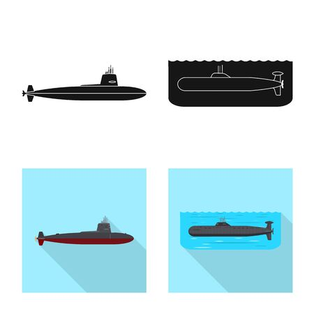 Vector design of war and ship symbol. Set of war and fleet stock symbol for web. Stock Illustratie
