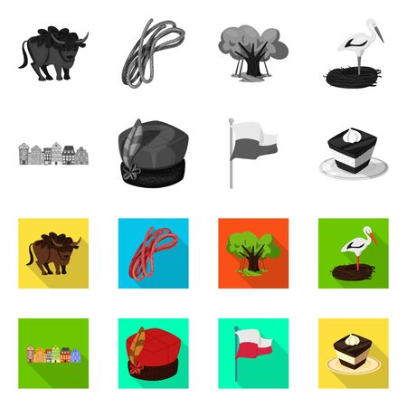 Isolated object of traditional and tour symbol. Set of traditional and landmarks stock symbol for web.