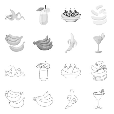 Vector design of natural and vegetarian symbol. Set of natural and eating vector icon for stock. Ilustrace