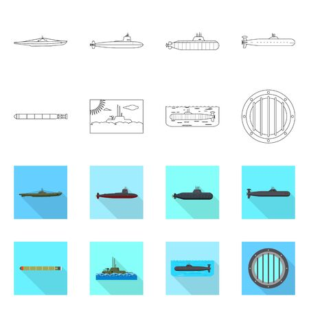 Vector illustration of war and ship sign. Set of war and fleet stock vector illustration. Vettoriali