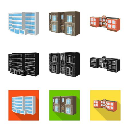 Vector design of facade and housing symbol. Collection of facade and infrastructure vector icon for stock. Banque d'images - 129133906