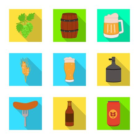 Vector design of brewery and brewing  . Collection of brewery and ingredient vector icon for stock.