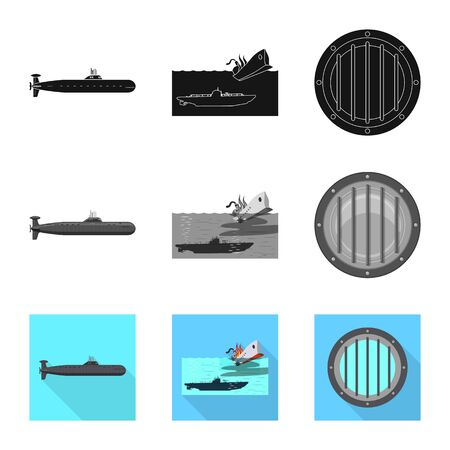 Vector design of war and ship . Set of war and fleet vector icon for stock.