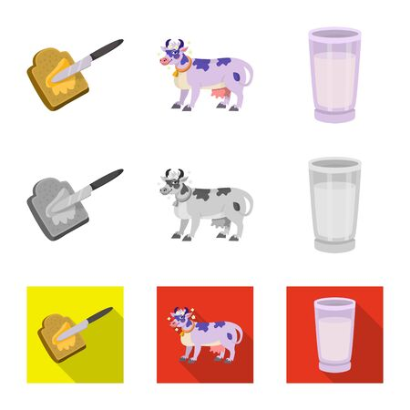 Isolated object of creamy and product icon. Set of creamy and farm stock vector illustration. Stock Vector - 129112061