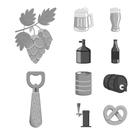 Vector illustration of restaurant and oktoberfest . Collection of restaurant and brewing vector icon for stock. Stock Illustratie
