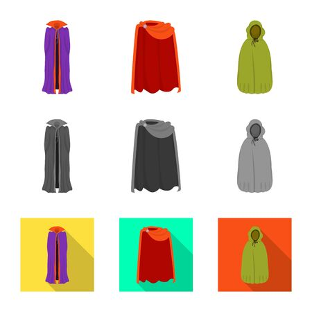 Vector illustration of material and clothing symbol. Set of material and garment vector icon for stock.