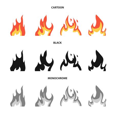Vector illustration of bright and dangerous symbol. Collection of bright and wildfire stock symbol for web. 版權商用圖片 - 129112104