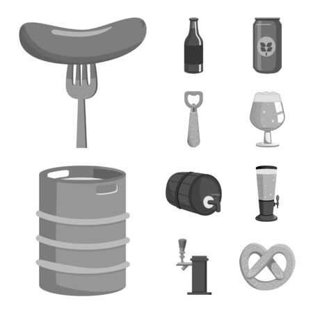Vector design of restaurant and oktoberfest sign. Collection of restaurant and brewing stock symbol for web.