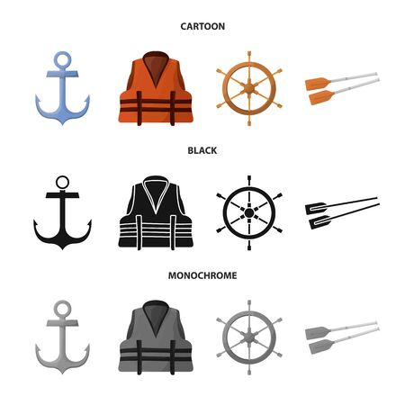 Vector design of journey and seafaring icon. Set of journey and vintage stock vector illustration.