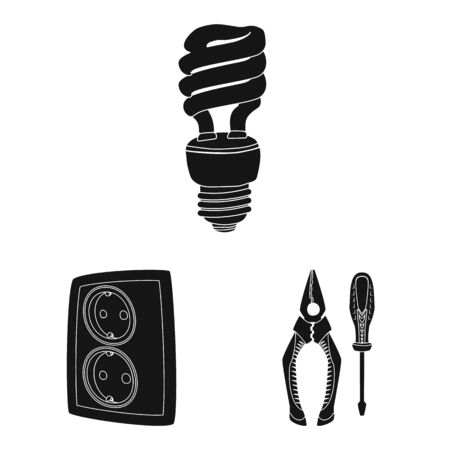 Isolated object of electricity and electric symbol. Collection of electricity and energy stock vector illustration.