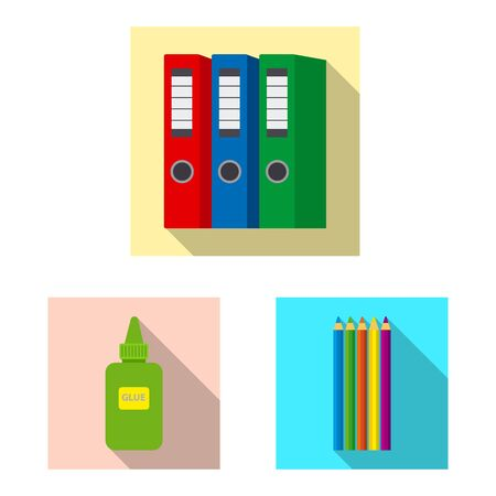 Isolated object of office and supply symbol. Set of office and school stock vector illustration. Ilustracja
