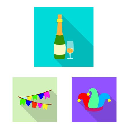 Vector illustration of party and birthday symbol. Set of party and celebration vector icon for stock. Imagens - 129112136