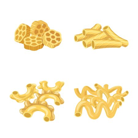 Vector illustration of pasta and carbohydrate . Set of pasta and macaroni stock symbol for web. 일러스트
