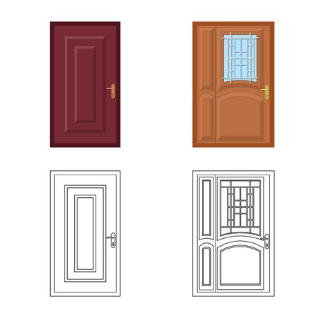 Isolated object of door and front . Collection of door and wooden vector icon for stock. Stock Illustratie