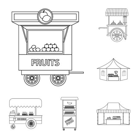 Isolated object of market and exterior sign. Set of market and food stock vector illustration. Stock Vector - 129138341