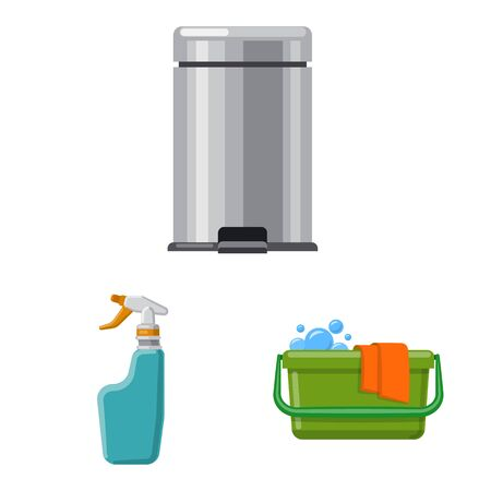 Vector design of cleaning and service icon. Set of cleaning and household vector icon for stock. Ilustrace