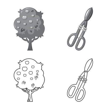 Isolated object of farm and agriculture icon. Collection of farm and plant vector icon for stock.