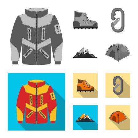 Vector design of mountaineering and peak . Collection of mountaineering and camp stock vector illustration.