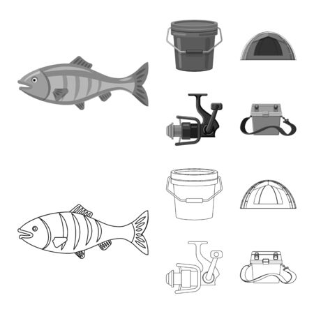 Isolated object of fish and fishing icon. Set of fish and equipment vector icon for stock. Stock Illustratie