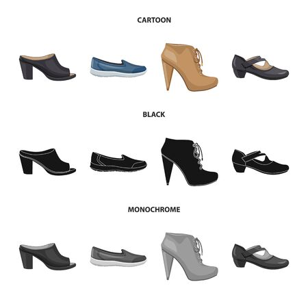 Isolated object of footwear and woman icon. Set of footwear and foot stock symbol for web.