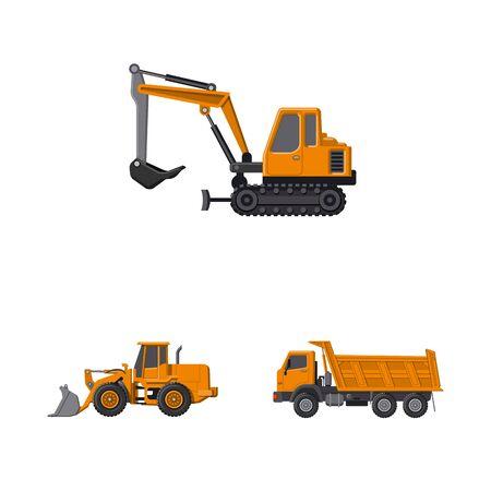 Objet isolé du symbole de construction et de construction. Collection de symboles boursiers de construction et de machines pour le web.