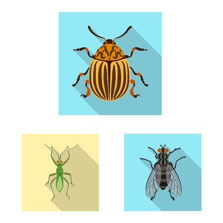 Vector illustration of insect and fly . Set of insect and element vector icon for stock.