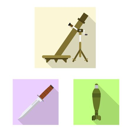 Vector illustration of weapon and gun . Set of weapon and army vector icon for stock.