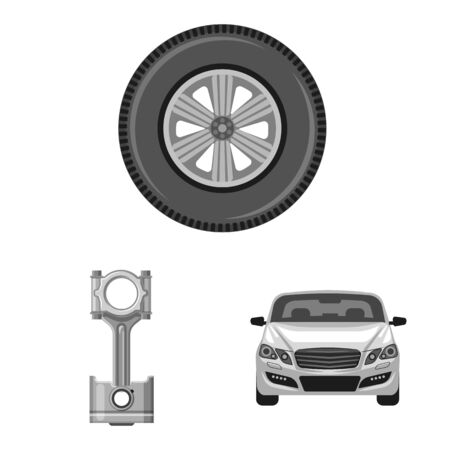 Vector illustration of auto and part sign. Collection of auto and car vector icon for stock. Foto de archivo - 129131647