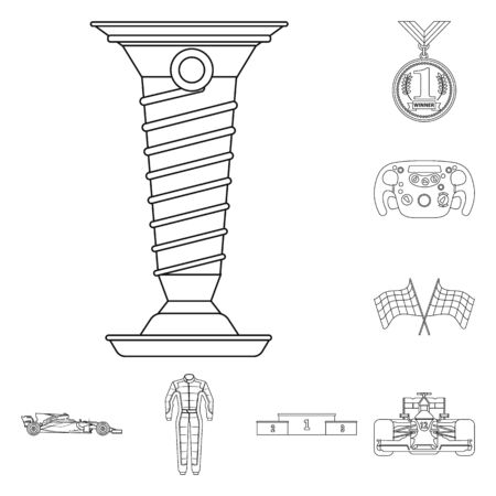 Vector illustration of car and rally . Collection of car and race vector icon for stock. Иллюстрация