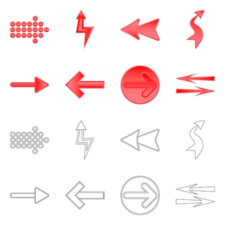 Vector illustration of element and arrow . Collection of element and direction stock vector illustration.