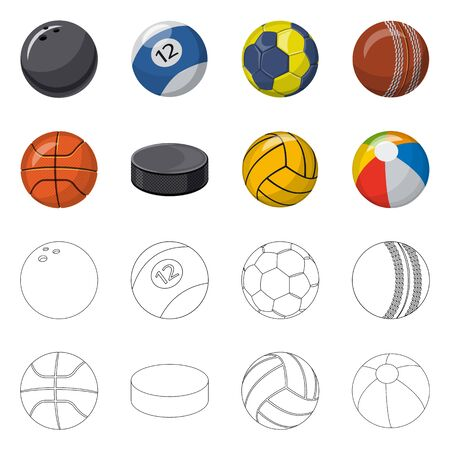Isolated object of sport and ball . Set of sport and athletic vector icon for stock.