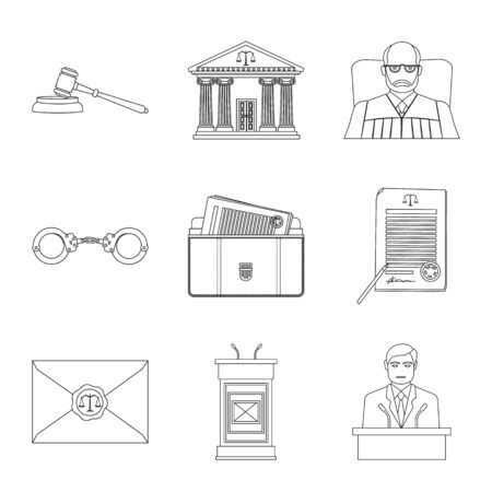 Vector illustration of law and lawyer . Set of law and justice vector icon for stock.  イラスト・ベクター素材