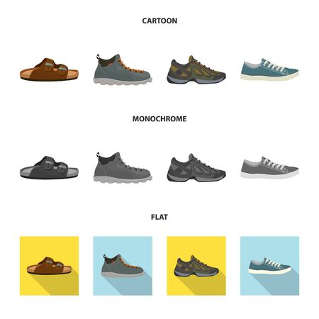 Isolated object of shoe and footwear symbol. Collection of shoe and foot vector icon for stock. Иллюстрация