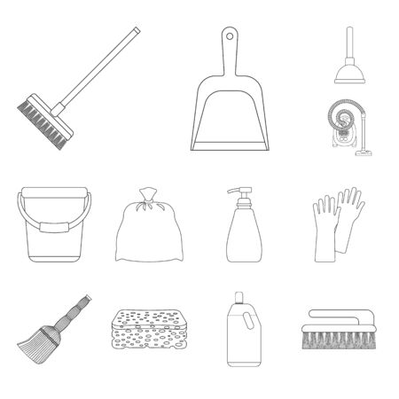 Vector illustration of cleaning and service . Set of cleaning and household vector icon for stock. Çizim