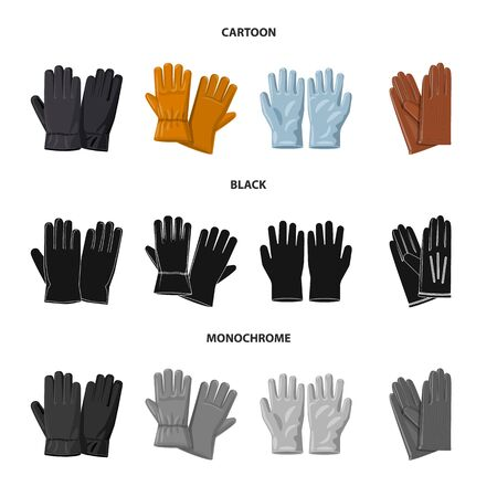 Vector design of glove and winter symbol. Collection of glove and equipment stock symbol for web. Иллюстрация