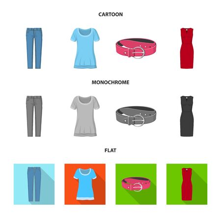 Isolated object of woman and clothing symbol. Set of woman and wear stock symbol for web. Archivio Fotografico - 129132152