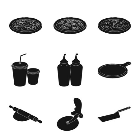 Vector design of pizza and food icon. Collection of pizza and italy stock vector illustration. Фото со стока - 129132161