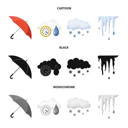 Vector design of weather and climate symbol. Set of weather and cloud stock vector illustration. Illusztráció