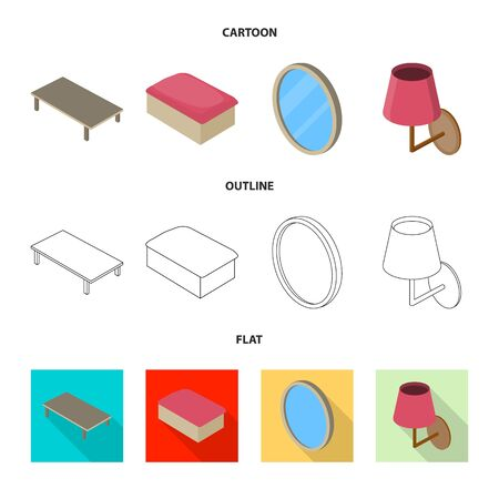 Vector design of bedroom and room icon. Set of bedroom and furniture vector icon for stock.
