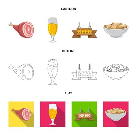 Isolated object of pub and bar icon. Collection of pub and interior stock vector illustration.