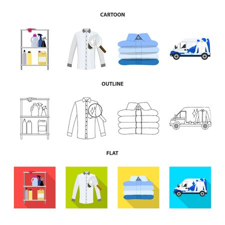 Vector design of laundry and clean sign. Collection of laundry and clothes vector icon for stock.