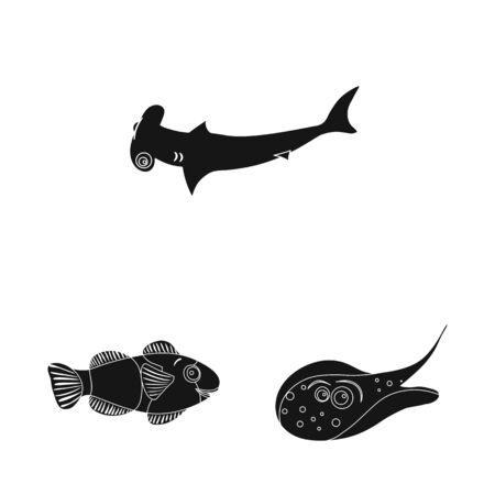 Vector design of sea and animal  . Set of sea and marine vector icon for stock. Illusztráció